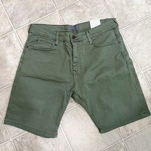 NWT Zara Men Olive Green Denim Shorts Sz 32